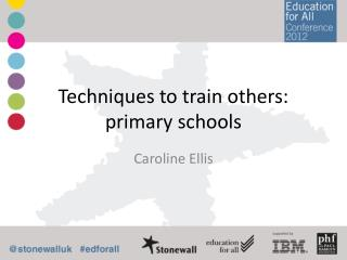 Techniques to train others: primary schools
