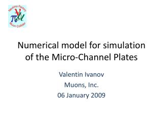 Numerical model for simulation of the Micro-Channel Plates