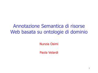 Annotazione Semantica di risorse Web basata su ontologie di dominio