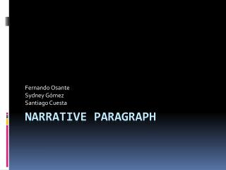 Narrative Paragraph
