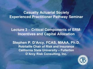 Casualty Actuarial Society Experienced Practitioner Pathway Seminar   Lecture 3   Critical Components of ERM: Incentives