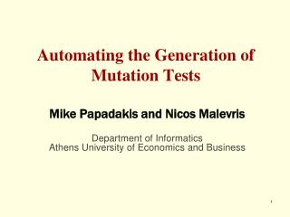 Automating the Generation of Mutation Tests