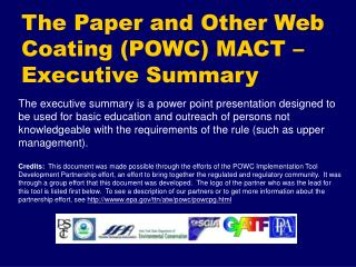 the paper and other web coating powc mact   executive summary