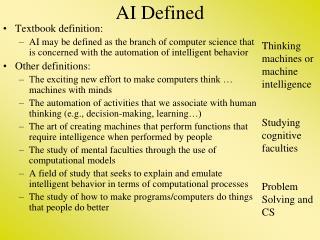 AI Defined
