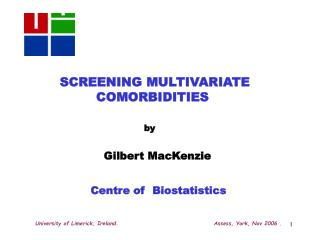 SCREENING MULTIVARIATE COMORBIDITIES