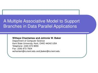 A Multiple Associative Model to Support Branches in Data Parallel Applications