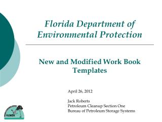 New and Modified Work Book Templates