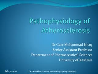 pathophysiology of atherosclerosis