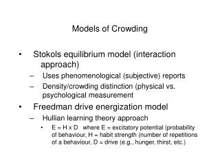 Models of Crowding