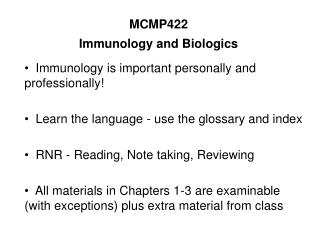 mcmp422 immunology and biologics