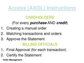 Access AXOL Instructions