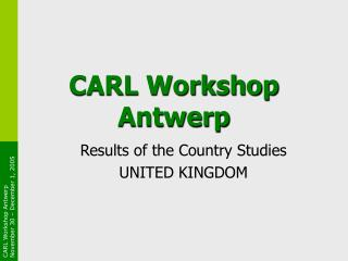 CARL Workshop Antwerp