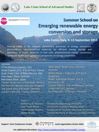 Summer School on  Emerging renewable energy conversion and storage