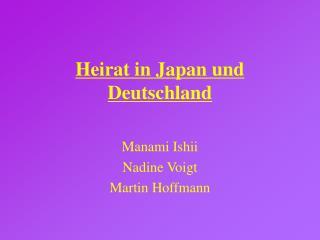 Heirat in Japan und Deutschland