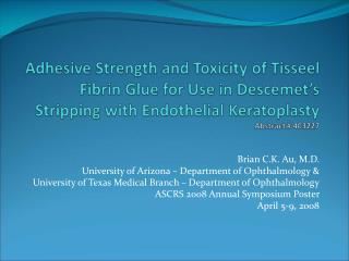 adhesive strength and toxicity of tisseel fibrin glue for use in ...