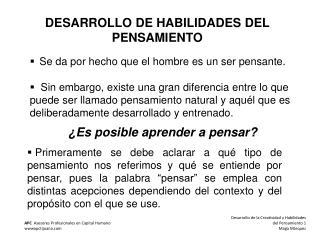 DESARROLLO DE HABILIDADES DEL PENSAMIENTO