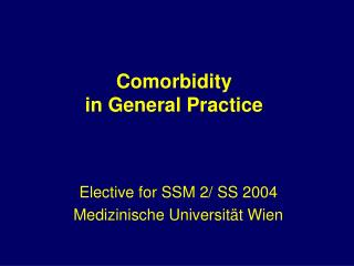 Comorbidity  in General Practice