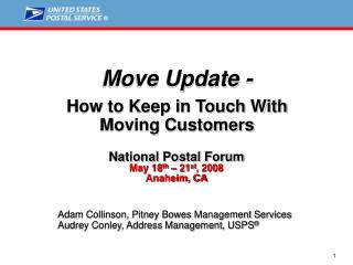 Move Update -  How to Keep in Touch With  Moving Customers