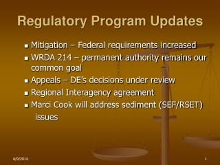 regulatory program updates
