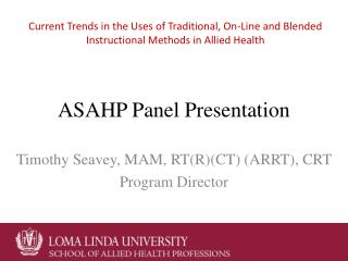 ASAHP Panel Presentation