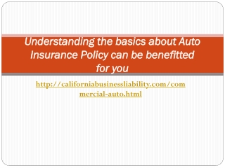 Understanding the basics about Auto Insurance Policy