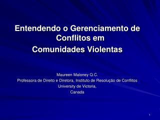 Entendendo o Gerenciamento de Conflitos em  Comunidades Violentas     Maureen Maloney Q.C. Professora de Direito e Diret