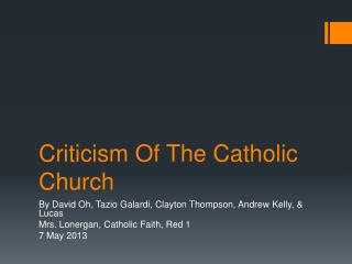 Criticism Of The Catholic Church
