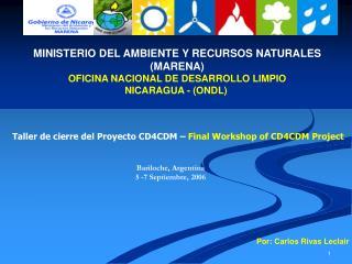MINISTERIO DEL AMBIENTE Y RECURSOS NATURALES MARENA OFICINA NACIONAL DE DESARROLLO LIMPIO NICARAGUA - ONDL