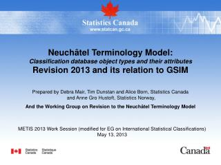 Neuch tel Terminology Model: Classification database object types and their attributes Revision 2013 and its relation to