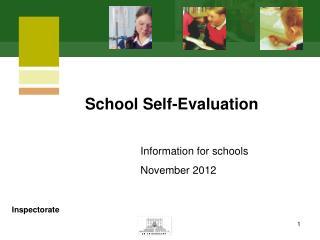 Information for schools November 2012