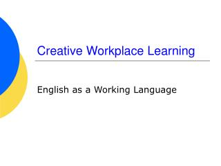 Creative Workplace Learning