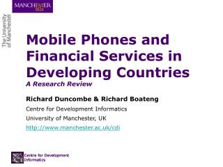 Mobile Phones and Financial Services in Developing Countries  A Research Review