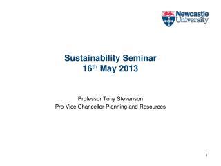 Sustainability Seminar 16th May 2013