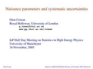 Nuisance parameters and systematic uncertainties