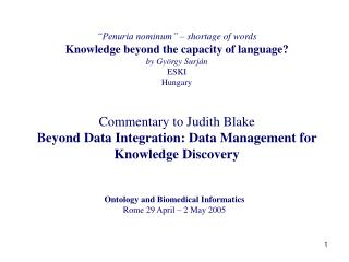 Penuria nominum    shortage of words Knowledge beyond the capacity of language by Gy rgy Surj n  ESKI Hungary  Commenta