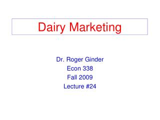 Dairy Marketing
