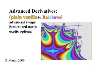 Advanced Derivatives: plain vanilla to Rainbows advanced swaps Structured notes exotic options