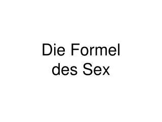 Die Formel des Sex