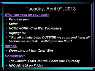 Tuesday, April 9th, 2013