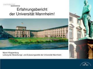 Erfahrungsbericht  der Universit t Mannheim
