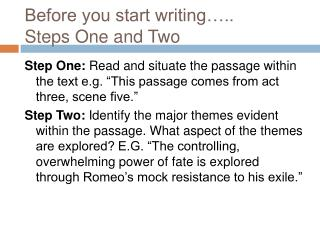 Before you start writing ..  Steps One and Two