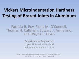 Vickers Microindentation Hardness Testing of Brazed Joints in Aluminum