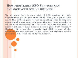 How profitable SEO Services can enhance your online business