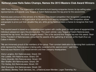 NationaLease Hails Sales Champs, Names the 2013 Masters