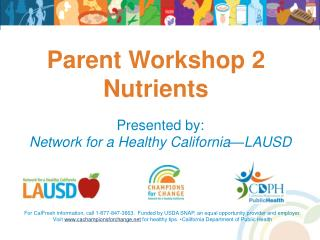Parent Workshop 2 Nutrients