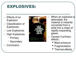explosives: