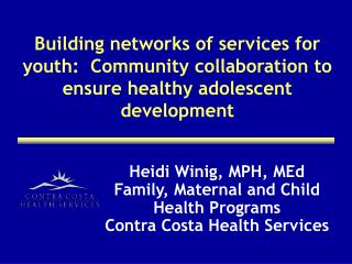 Building networks of services for youth:  Community collaboration to ensure healthy adolescent development