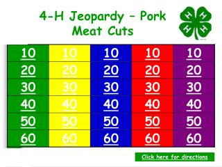 4-H Jeopardy   Pork Meat Cuts