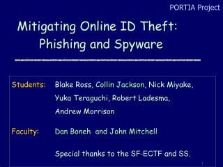 Mitigating Online ID Theft:  Phishing and Spyware