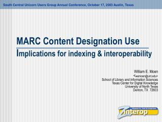 MARC Content Designation Use  Implications for indexing  interoperability